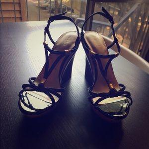 Black patent & cork wedge heels